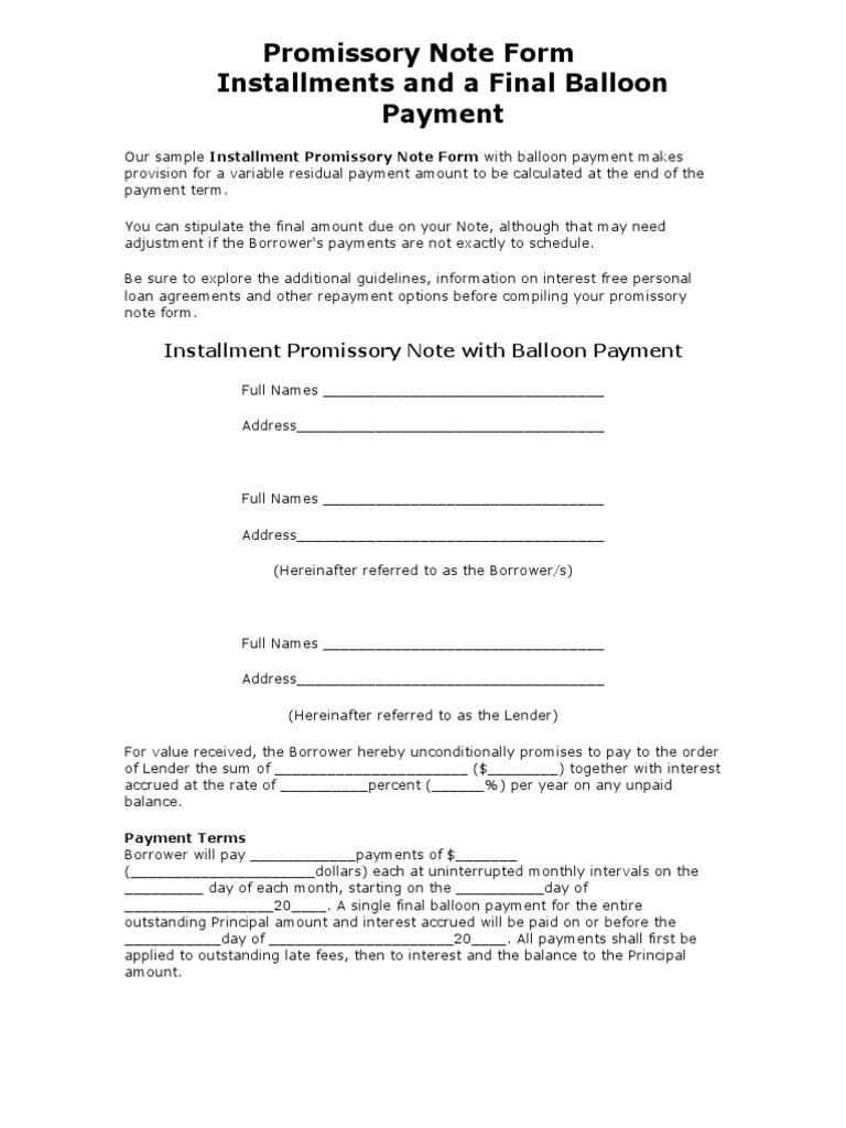 Promissory Note Form Interest – Form Promissory Note