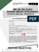 Ensino Médio Integrado - Edital n.º 045.2016