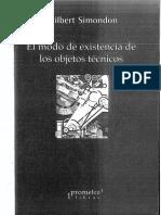 El Modo de Existencia de Los Objetos Técnicos by Gilbert Simondon