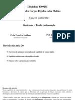 Aula 21 24.06.2021 Elasticidade - Tensão e deformação
