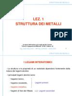 Lez 1 Struttura Dei Metalli
