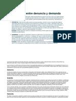 Diferencia entre denuncia y demanda