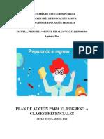 PLAN DE ACCION PREVIO AL REGRESO A CLASES PRESENCIAL 2021-2022
