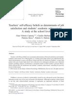 Teachers' self-efficacy beliefs as determinants of job satisfaction and students'
