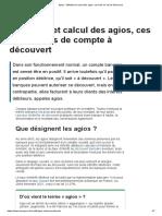 3-Agios _ définition et calcul des agios, ces frais en cas de découvert