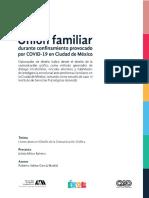 Unión familiar durante confinamiento provocado por COVID-19 en Ciudad de México