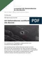 Mit Spannung erwartet US-Geheimdienste veröffentlichen Ufo-Bericht