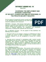 DEPARTMENT ORDER NO 14 ASAI