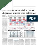 Inversiones en América Latina deben ser mucho más selectivas