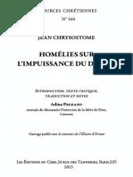 Jean Chrysostome. Homélies Sur l'Impuissance Du Diable Introduction, Texte Critique, Traduction Et Notes by Peleanu, Adina (Z-lib.org)