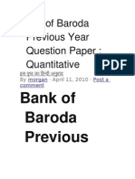 Bank of Baroda Previous Year Question Paper