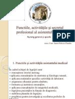 LP - Functiile, activitatile si secretul profesional al asistentului medical