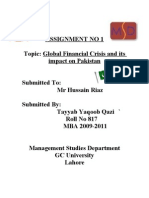 Tayyab Yaqoob Qazi,  Assignment on Global Finanacial Crisis and Its Impact on Pakistan