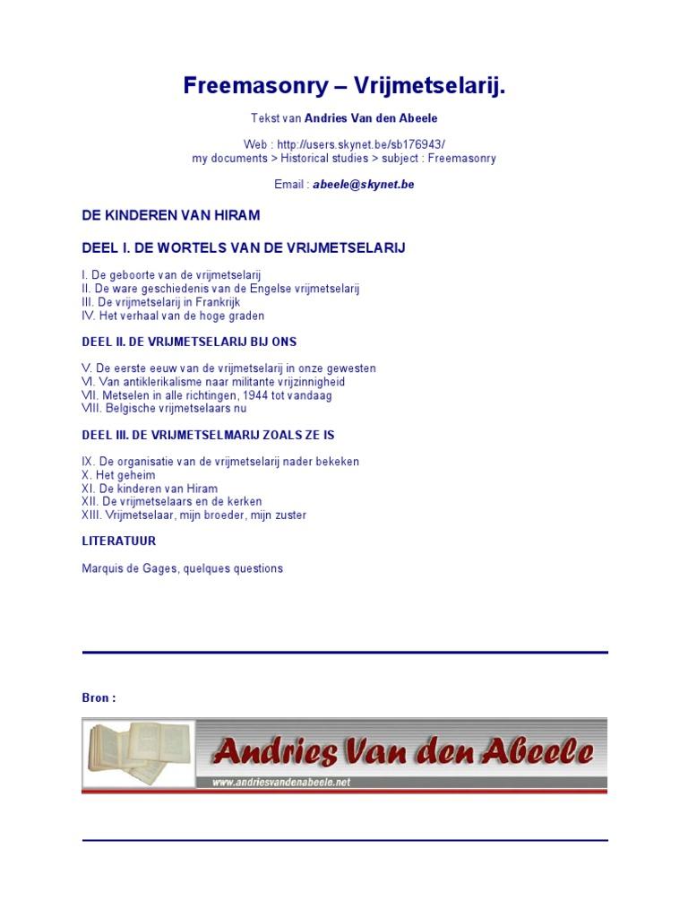 Freemasonry Vrijmetselarij Andries Van Den Abeele Dutch