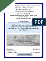 Influence Des Harmoniques Et Des Déséquilibres Sur La Compensation de l'Énergie Réactive Des Réseaux Électriques de Distribution