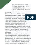 REPETIÇÕES EM RESERVA E TAXA DE PERCEBIDO O EXERCÍCIO AUMENTA AS CAPACIDADES DE PREVISÃO DO RELACIONAMENTO CARGA