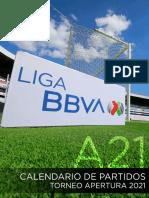 Calendario Torneo Apertura 2021