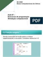 BCC - AULA 07 - EXERCÍCIOS DE PROGRAMAÇÃO