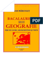 """BACALAUREAT 2019. Geografie. Fișe de Lucru, Microsinteze Și Teste, Ioan Mărculeţ, Colegiul Naţional """"I.L. Caragiale"""", IsBN 978-973!0!27712-8, Bucureşti, 2018, 107 Pag."""