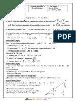 Devoir de Contrôle N°1 - Math - 2ème Sciences (2017-2018) Mr Afli Abdelaziz