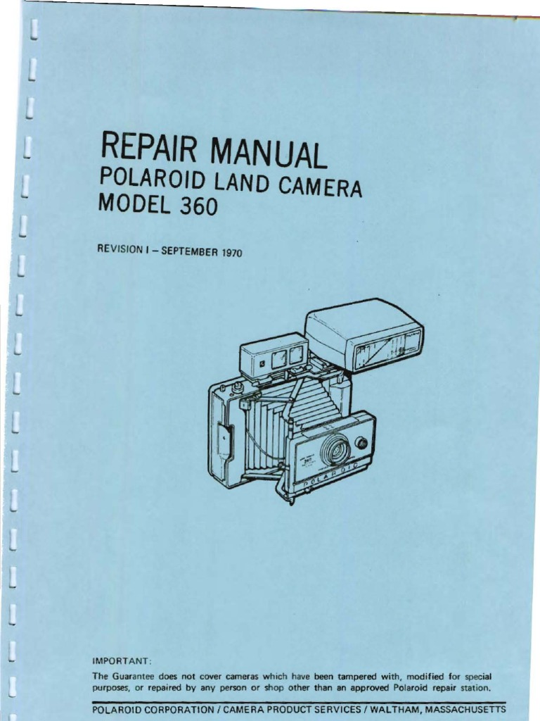 Repair Manual Polaroid Land Camera Model 360 Revision I - September ...