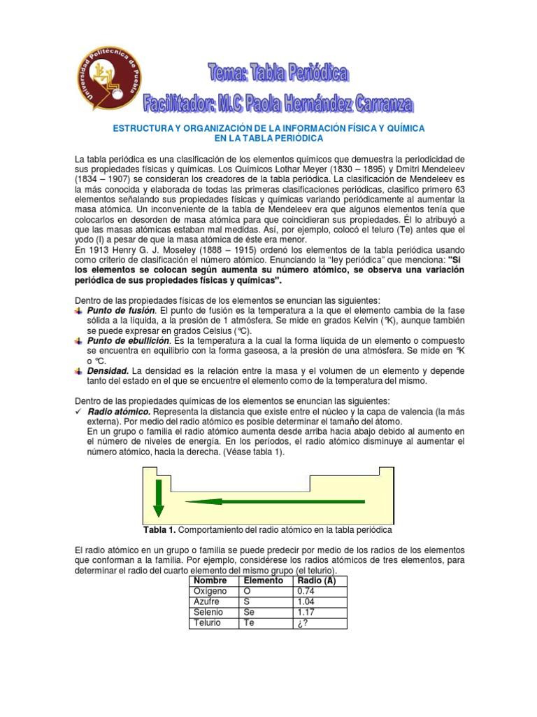 Tema 4 tabla periodica diplomado urtaz Images