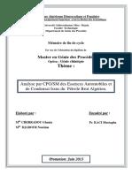 Analyse Par CPGSM Des Essences Automobiles Et de Condensat Issus Du Pétrole Brut Algérien.
