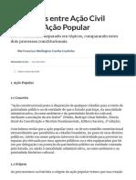 Diferenças entre Ação Civil Pública e Ação Popular (Processo Civil) - Artigo jurídico - DireitoNet