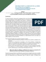 Les Economistes Discutent La Gestion Du Covid 19 Au Maroc