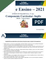 Plano Anual 2021 - Inglês 3º Ano