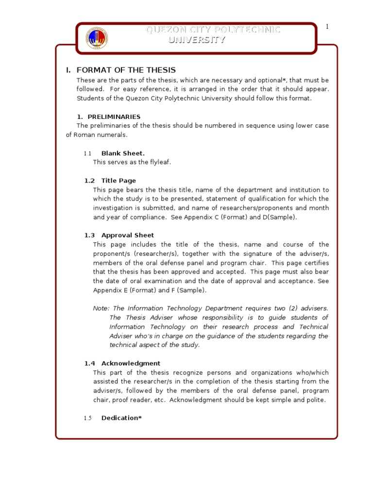 Dissertation parts