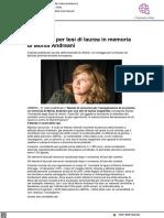 Un premio per tesi di laurea in memoria di Monia Andreani - Il Metauro.it, 5 luglio 2021