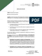 Circular 3 2021 Modificaciones Programación Académica y Criterios de Citación a Inscripción de Asignaturas