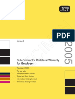 JCT sub contractor collateral warranty for employer 2009
