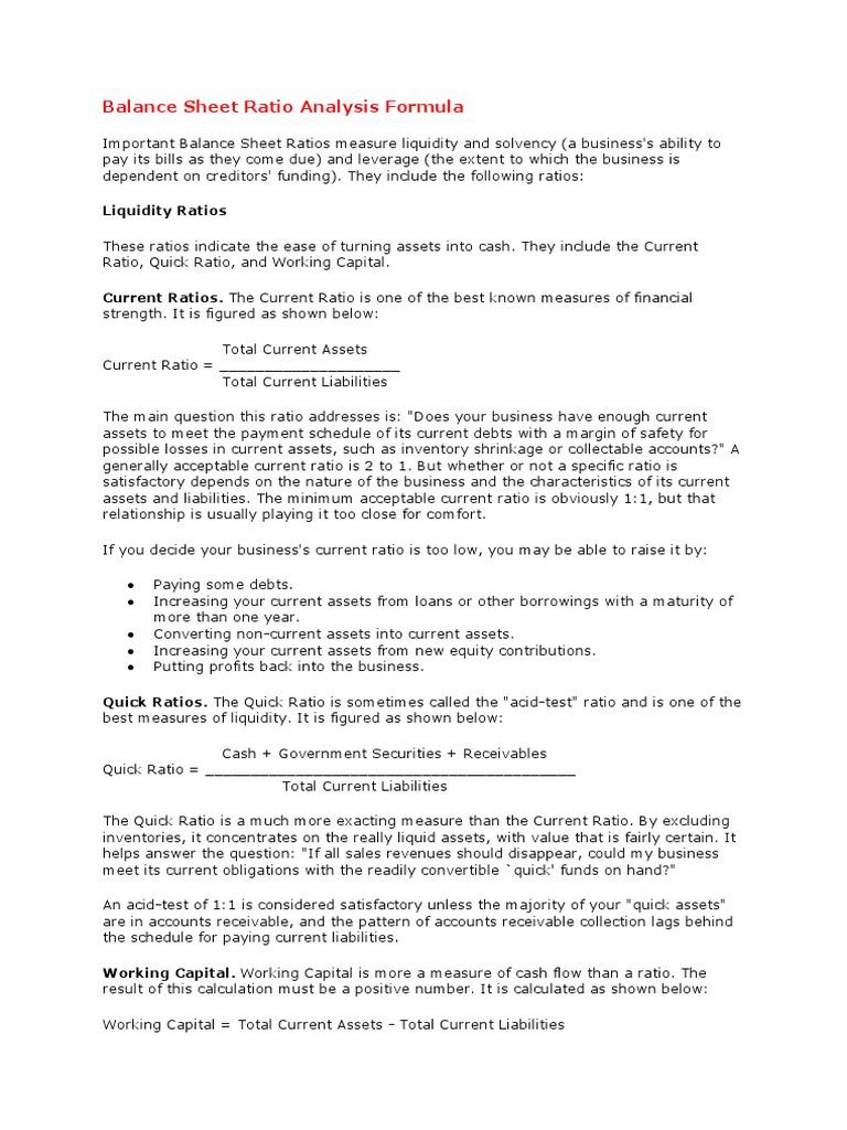 Balance Sheet Ratio Analysis Formula