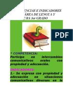 COMPETENCIAS E INDICADORES PARA EL ÁREA DE LENGUA Y LITERATURA 3er GRADO