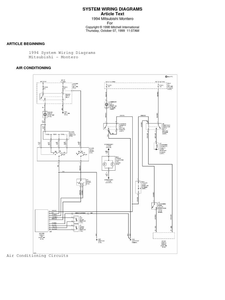 94 pajero wiring diagram rh scribd com 1997 mitsubishi montero wiring diagram 2002 mitsubishi montero wiring diagram