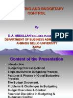 describe the essential features of budgetary control