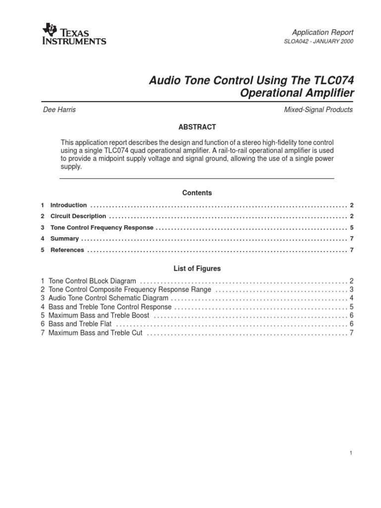 Texas Tlo74 Tone Preamp Amplifier Operational Bass Circuit Diagram