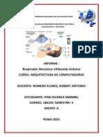 INFORME DE RESPIRADOR MECANICO CON ARDUINO