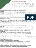 SEBI Guidelines For IPO