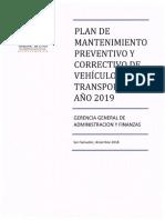 Plan de Mantenimiento Vehiculos 2019