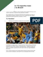 Descubra os 12 esportes mais praticados no Brasil