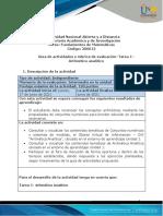 Guía de actividades y Rúbrica de evaluación -Tarea 1– Aritmético analítico