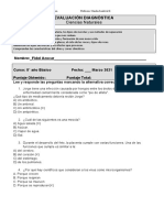 Ev. diagnóstica Ciencias Naturales 8° básico Marzo 2021