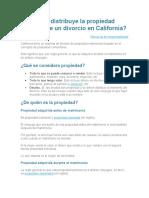 Cómo se distribuye la propiedad después de un divorcio en California