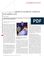 The impact of greed on academic medicine and patient care