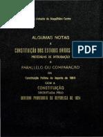 Castro, José Antonio de Magalhães. Algumas Notas a Constituição Dos Estados Unidos Do Brazil
