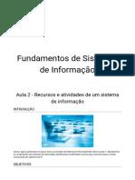 Aula 2 - Recursos e atividades de um sistema de informação