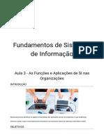 Aula 3 -  Funções e Aplicações de SI nas Organizações